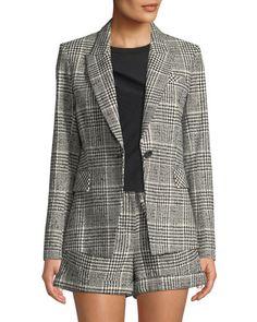 Womens Plaid Grey Blazer Work Business Office Midi-Length Single Button Jacket Coat