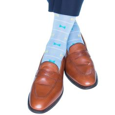 Dapper Classics Sky Blue with White Stripe and Ceramic and Yellow Bow Ties Cotton Sock Linked Toe