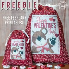 FREEBIE February Printable Printable Fabric, Printable Stickers, Electric Quilt, Dorset Buttons, Small Sewing Projects, Bear Design, Table Toppers, Craft Fairs, Happy Valentines Day