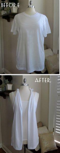 T-shirt vest: http://www.missmalaprop.com/2012/01/super-easy-no-sew-tshirt-vest-diy-by-wobisobi/