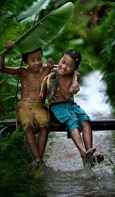 . The happy fishermen