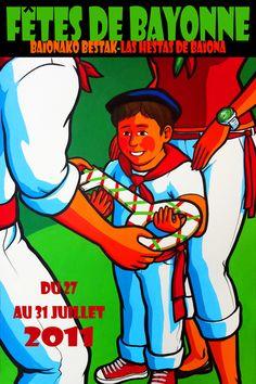 Affiche Fêtes de bayonne 2011 Erwin Dazelle European Festivals, Running Of The Bulls, Art Graphique, Art Plastique, Grand Prix, Vintage Posters, Illustrations Posters, Culture, Street Art