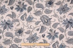 Richloom Briswell Printed Cotton Drapery Fabric in Chambray