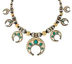 American West Sterling/Brass 17-1/4 Turquoise Najah Necklace