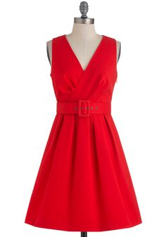 Saffron Your Mind Dress by BB Dakota - Mid-length, Red, Solid, Buckles, Work, Vintage Inspired, A-line, Sleeveless