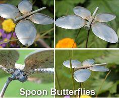 Butterfly spoon lawn ornament