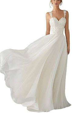 c74449bb9c8e Andybridal A Line Spaghetti Straps Sweetheart Lace Chiffon Bridal Gowns  Beach Wedding Dress Ivory 16 Bridal