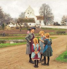 Four girls chatting in front of the village church, Hans Andersen Brendekilde. Danish (1857 - 1942)