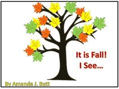It is Fall. I See...  Interactive Story for students (nonverbal; autism; special needs; lifeskills; speech; preschool; kindergarten). This activity was made specifically for those that struggle using a writing tool.