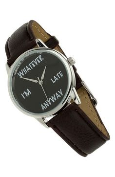 Topman 'Whatever' leather strap watch