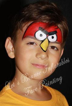 Angry Birds Boy's Face Painting  by Let's Bounce Inflatables www.letsbounceinflatables.ca
