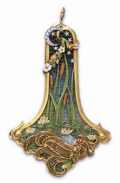 AN ART NOUVEAU ENAMEL, DIAMOND AND MOONSTONE OPHELIA PENDANT, BY EUGÉNE FEUILLÂTRE. Mounted in 18k gold, circa 1900, with French assay mark and jeweller's mark for Eugène Feuillâtre.
