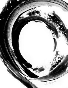 Black and White Painting BW Abstract Art Artwork High Contrast Depth Black Magic 255 Minimalism Minimalist Modern Contemporary Cummings via Etsy