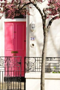 Pink door w/ traditional iron fencing. Love this combination.