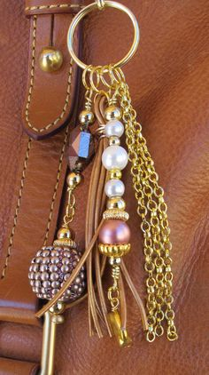 Blingy Purse Charm, Charm Tassel, Zipper Pull, Key Chain Clip - Gold, Leather, Lavender, Pink, Pearl Glass Beads