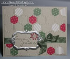 Another sneak peek at a StampinUp! cute hexagon card made by Amy Koenders