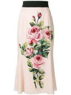 Custom made designer inspired Rose print skirt