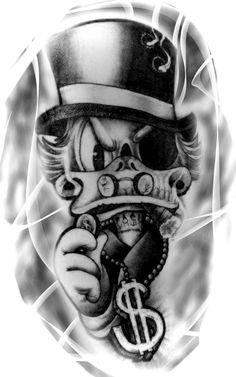 Tio patinhas. Forarm Tattoos, Chicano Tattoos, Body Art Tattoos, Tattoo Design Drawings, Tattoo Sketches, Tattoo Designs, Bandana Tattoo, Spade Tattoo, Duck Tattoos