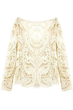White Crochet Lace Long Sleeve Top with #Mesh Panel