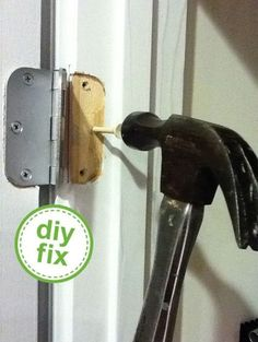 use a golf tee to fix a stripped screw on a door hinge