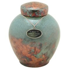 Timeless Turquoise Raku Cremation Urn, Artist Unknown