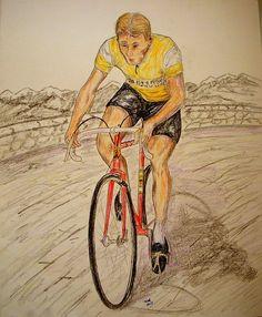 1-Jacques Anquetil, Tour de France Champion, 1957, 14x17, graphite & color pencil, aug 21, 2015