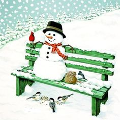 <3 ~~ Snowman & Winter Park Bird Buddies ~~ <3