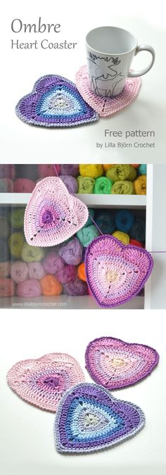 Easy and Free crochet pattern of a cute heart coaster with ombre effect. Aimed to advanced beginners.
