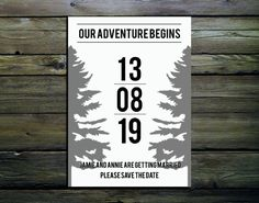 Simple Woodland Style Wedding Save The Date Cards by PinkPersian