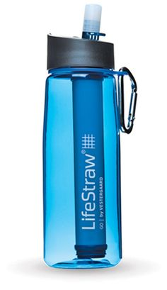 LifeStraw water bottle with built in filter $35. Filters out impurities and pathogens in water, and money from purchase goes to support getting water filtration units to school children without access to safe, clean drinking water