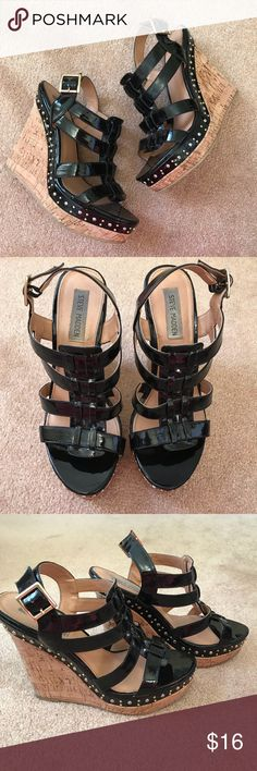 Steve Madden Wedge Sandals with Stud Accents Steve Madden Platform Sandals. Cork wedge. Black patent. Stud accents on side. Stunning shoe. Size 8.5. Steve Madden Shoes Wedges