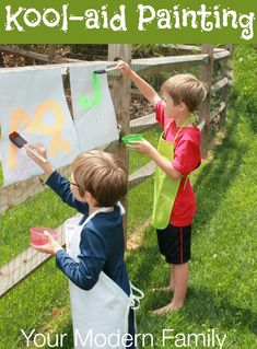 This activity is really fun and our kids LOVE it! Two ingredient Kool-Aid Paint for your kids. Your Modern Family