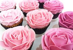 Imaginative Pink Desserts For Your Sweet Table ombre cupcakes - imagine them in shades of blue Cupcakes Rosa, Pink Wedding Cupcakes, Buttercream Cupcakes, Pink Cupcakes, Yummy Cupcakes, Cupcake Cookies, Flower Cupcakes, Rosette Cupcakes, Breakfast Cupcakes