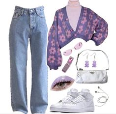 Retro Outfits, Girly Outfits, Cute Casual Outfits, Fashion Outfits, Aesthetic Fashion, Aesthetic Clothes, Polyvore Outfits, Streetwear Fashion, Korean Fashion