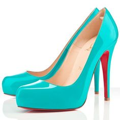 Christian Louboutin Rolando In stock French Footwear New Release 120mm Patent Leather Pumps Turquoise Red Sole Shoes Formal