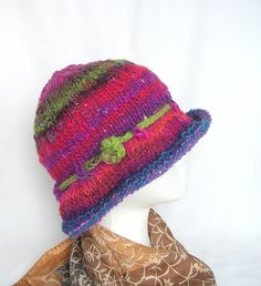 Image detail for -Hat Knitting Pattern pdf, Easy Knit Hat Pattern, Knit Cloche Hat ...