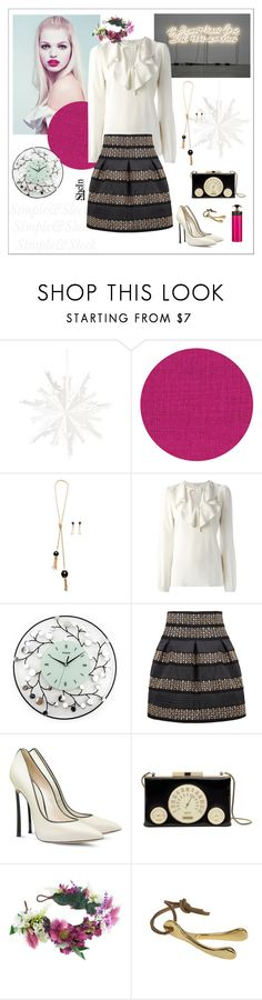 """#sheinhighwaistedskirt"" by nettavknows ❤ liked on Polyvore featuring GE, Élitis, RED Valentino, Casadei, Kate Spade, Rock 'N Rose, Jayson Home and Prada"