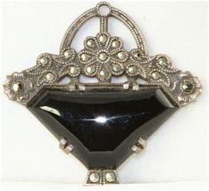 Art Deco basket pendant, onyx, marcasites, sterling silver.