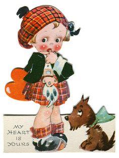 vintage valentine: girl with puppy