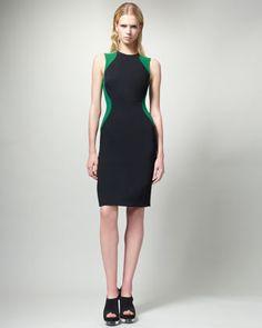 Contour Colorblock Sheath Dress, Black/Green by Stella McCartney at Neiman Marcus.