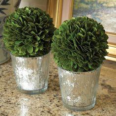 Mercury glass planters.