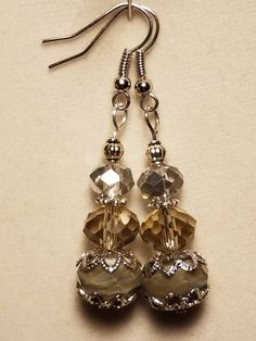 Smokey and Clear Crystal Beaded earrings with Faceted Murano Beads