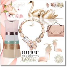 Necklace statement offical by silvijo on Polyvore featuring Giambattista Valli, Giuseppe Zanotti, Karl Lagerfeld, Oscar de la Renta, statementnecklaces and mysummeroutfit