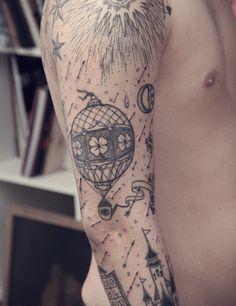 Sailor Roman - hot air balloon above skyline tattoo