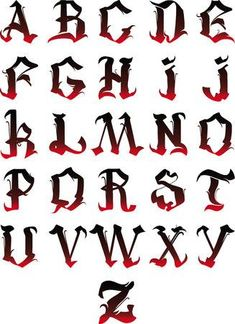 Beautiful letters of the gothic alphabet isolated on a white background - Abecedarios - Graffiti Lettering Alphabet, Tattoo Fonts Alphabet, Calligraphy Fonts Alphabet, Chicano Lettering, Graffiti Font, Hand Lettering Fonts, Creative Lettering, Lettering Design, Grafitti Letters
