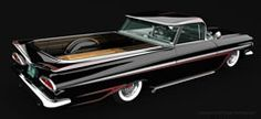 1959 El Camino in black with red scallops and reverse chrome wheels and of course, wide whitewall tires!