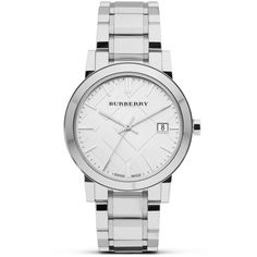 8dc438098c Burberry Silver Stainless Steel Watch, 38mm ($495) ❤ liked on Polyvore  Burberry Store
