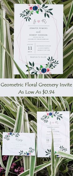 Geometric Floral Greenery Wedding Invitations