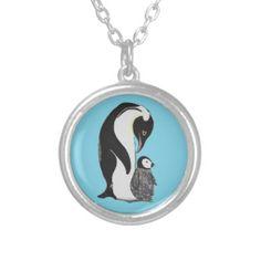 Penguins with Blue Background Necklace; Abigail Davidson Art; ArtisanAbigail at Zazzle