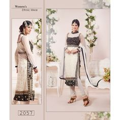 Net Embriodered White Partywear Designer DREES